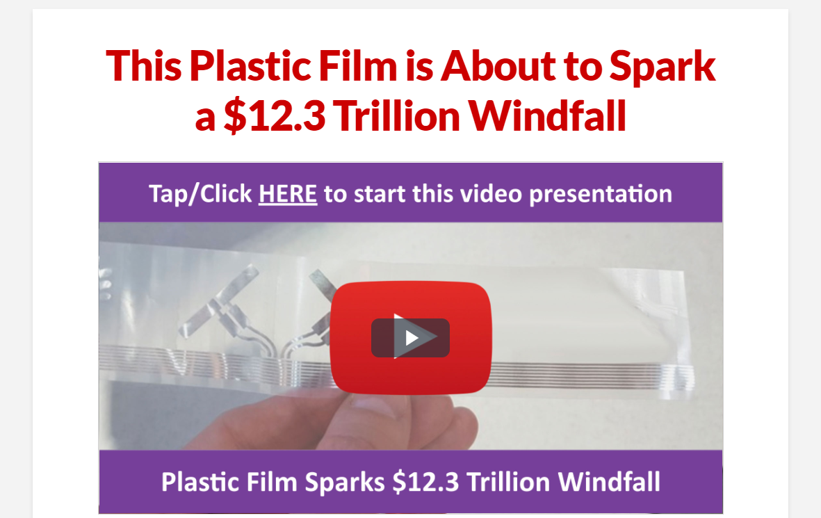 This Plastic Film is About to Spark a $12.3 Trillion Windfall