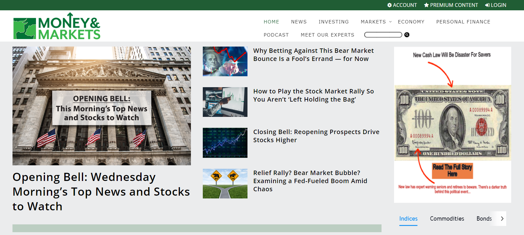 Money & Markets website